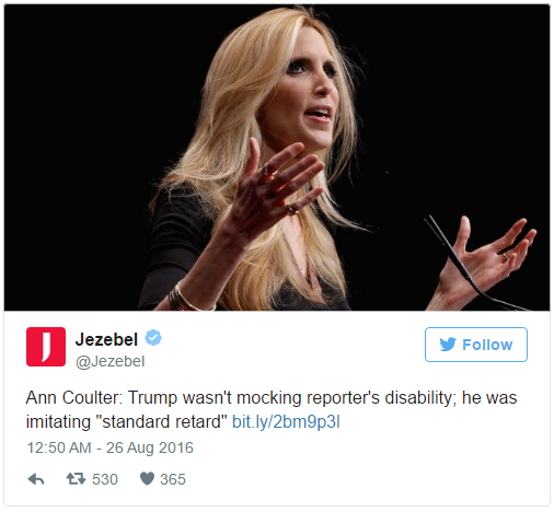 """In her new book In Trump We Trust, Ann Coulter attempts to talk America into supporting the Republican presidential nominee—in her own words, """"the great orange hope."""" She also attempts to answer for his past mistakes, including when he mocked New York Times reporter Serge Kovaleski, who has a musculoskeletal disorder.  Coulter, in a chapter entitled """"Disabled Reporter Joins Media Effort to Create More Disabled Americans,"""" writes that Trump wasn't making fun of Kov"""