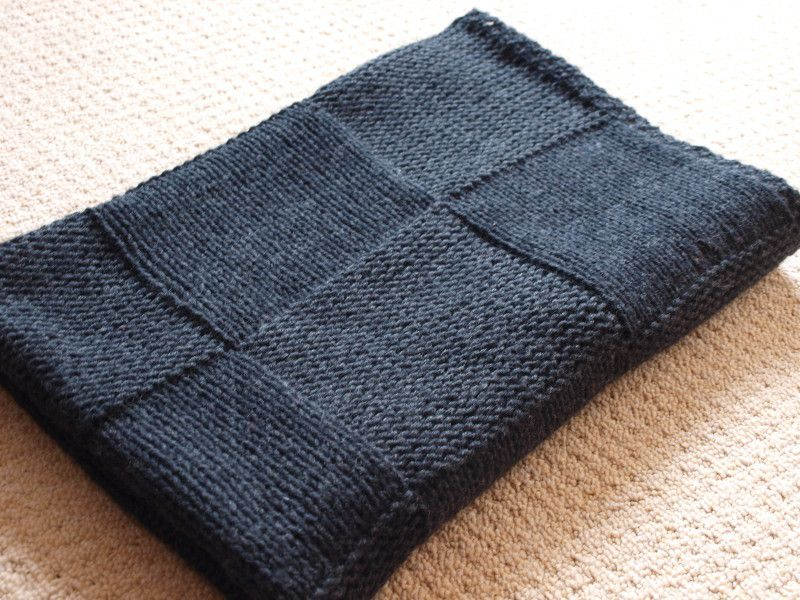 Knitted afghan-seed stitch edges, squares of knit or purl ...