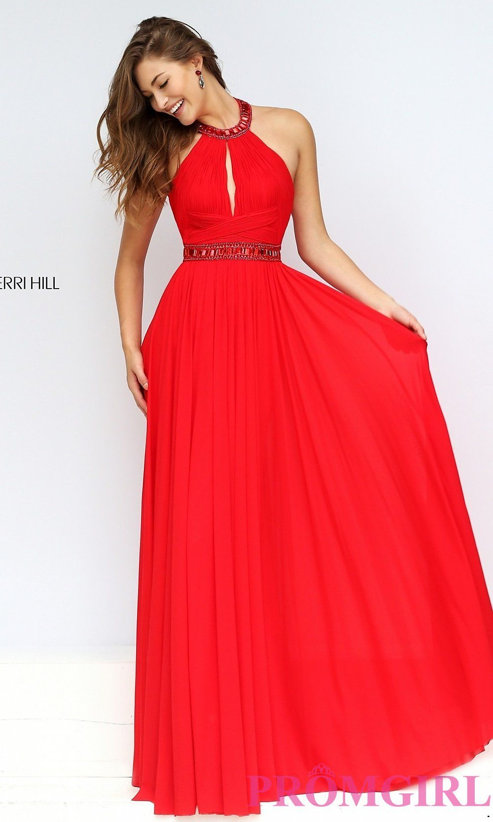 Image Of Floor Length High Neck Halter Dress Detail Image 1