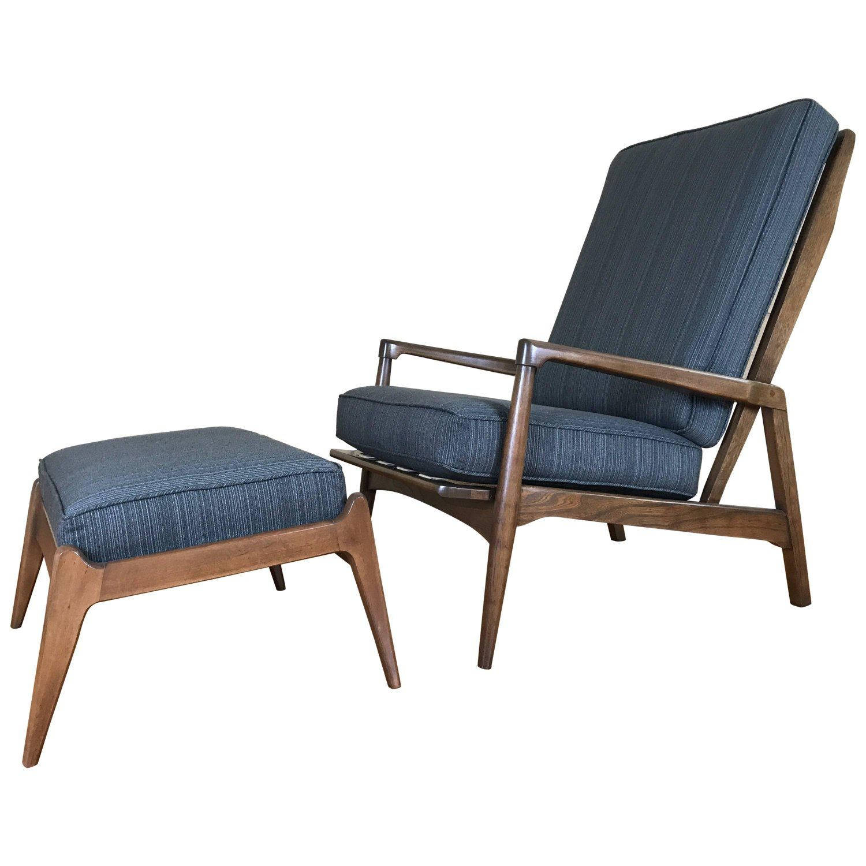 Mid Century Modern High Back Walnut Lounge Chair U0026 Ottoman By Baumritter
