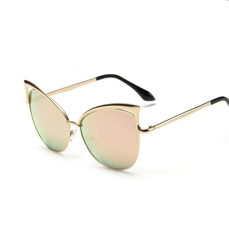 Roze vintage spiegel vrouwelijke vrouwen cat eye zonnebril merk designer dames zonnebril voor vrouwen eyewear oculos feminino