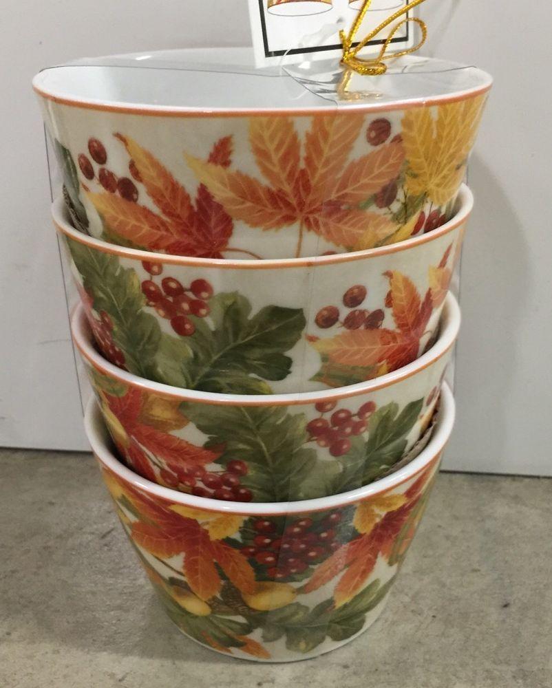 222 Fifth Autumn Celebration Appetizer Dessert Bowls Set Of 4 ...