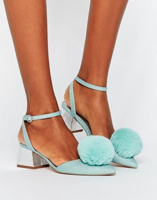 asos saucy pom pom mid heels with images  heels funky