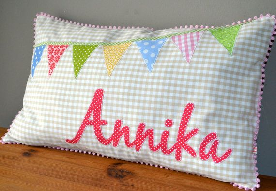 gift for birth / baptism: cushion with name patch by MasumiBerlin