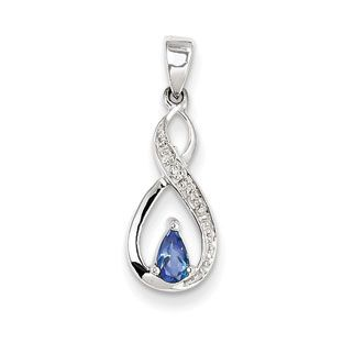 Sterling silver tanzanite diamond infinity pendant available sterling silver tanzanite diamond infinity pendant available exclusively at gemologica mozeypictures Images