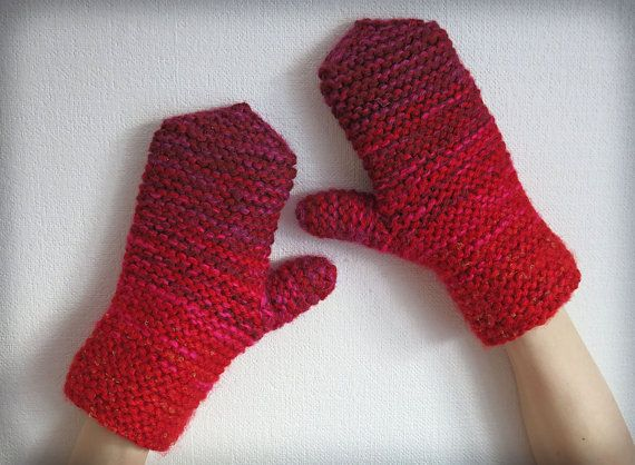Hand knitted mittens gloves for women rustic knit by MistyMittens, $35.00