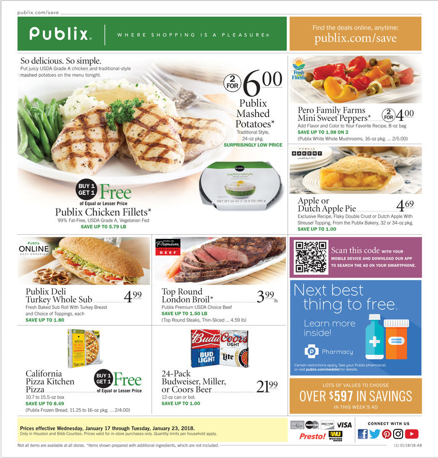View Latest Publix Weekly Ad January 17 23 2018 Flyers Here Browse Weekly Bogos Buy Ones Get Ones Extra Sav Publix Publix Weekly Ad Sweet Pepper Recipes