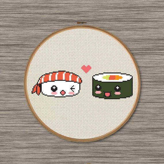 Sushi Love PDF Cross Stitch Pattern by DJStitches on Etsy
