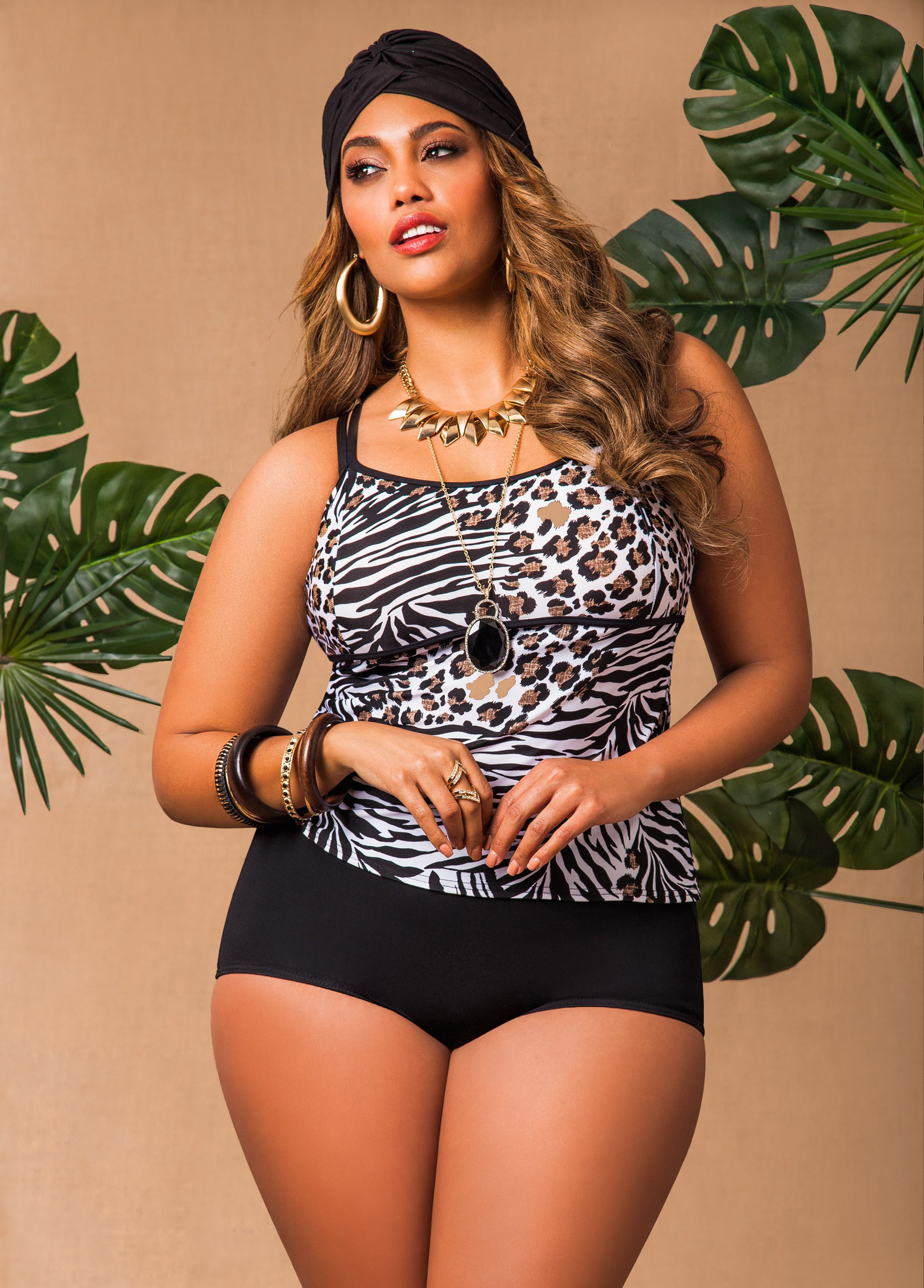 c8dd806eaf8 Ashley Stewart Animal Print Tankini Top