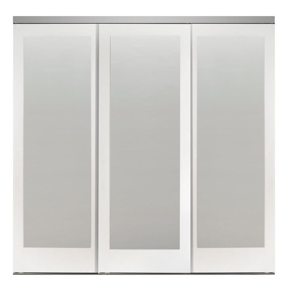 Impact Plus 96 In X 80 In Mir Mel Primed Mirror Solid Core Mdf Interior Closet Sliding Door With Chrome Trim Smmp343 9680c Mirror Closet Doors Sliding Doors Sliding Closet Doors