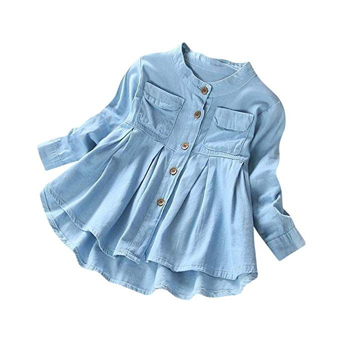 c67916b2a8863 Moonker Baby Girls Kid Denim Ruched Long Sleeve T-Shirt Tops Clothing  Children Autumn Winter Fashion Blouse 3-8T (5-6 Years Old, Blue)