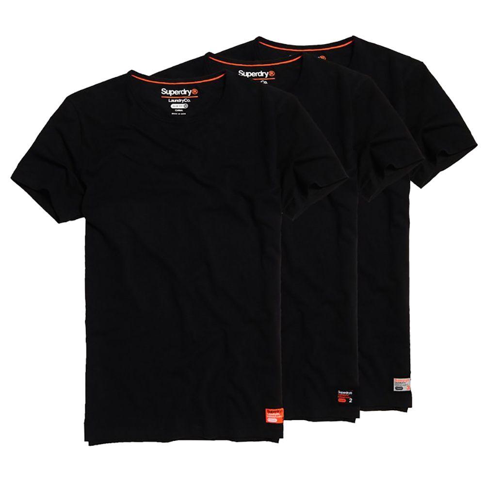 Superdry NEW Men's Laundry Organic Cotton T-Shirt Triple Pack Shirts Laundry Black