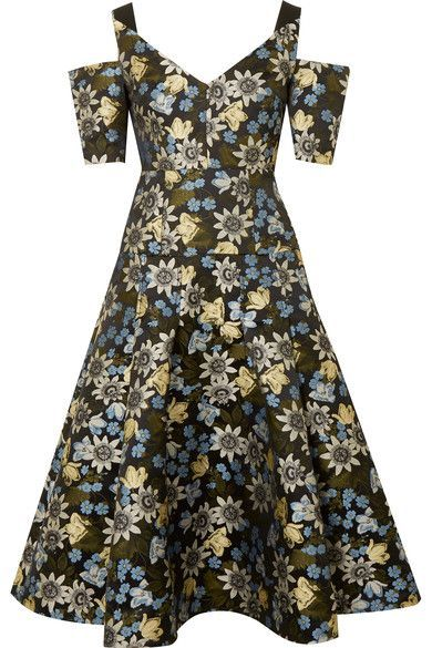 Yamal Cold-shoulder Floral-jacquard Midi Dress - Black Erdem PqNOtp