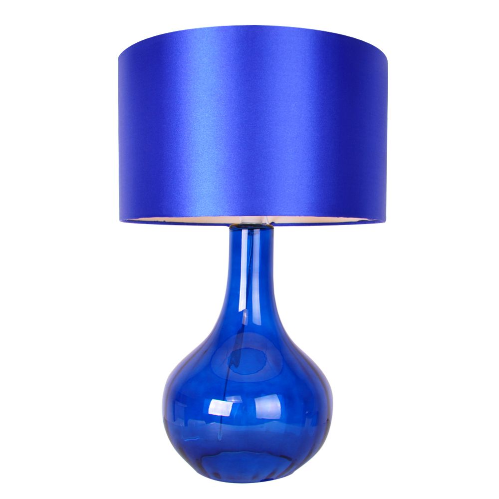 modern electric blue glass contemporary table bedside lamp light