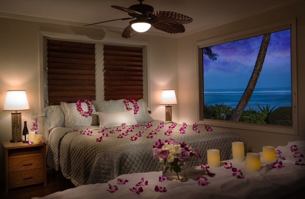 Romance room set up is an option at hanalei colony resort hawaii local getaways kauai hotel for Hotel bedroom furniture packages