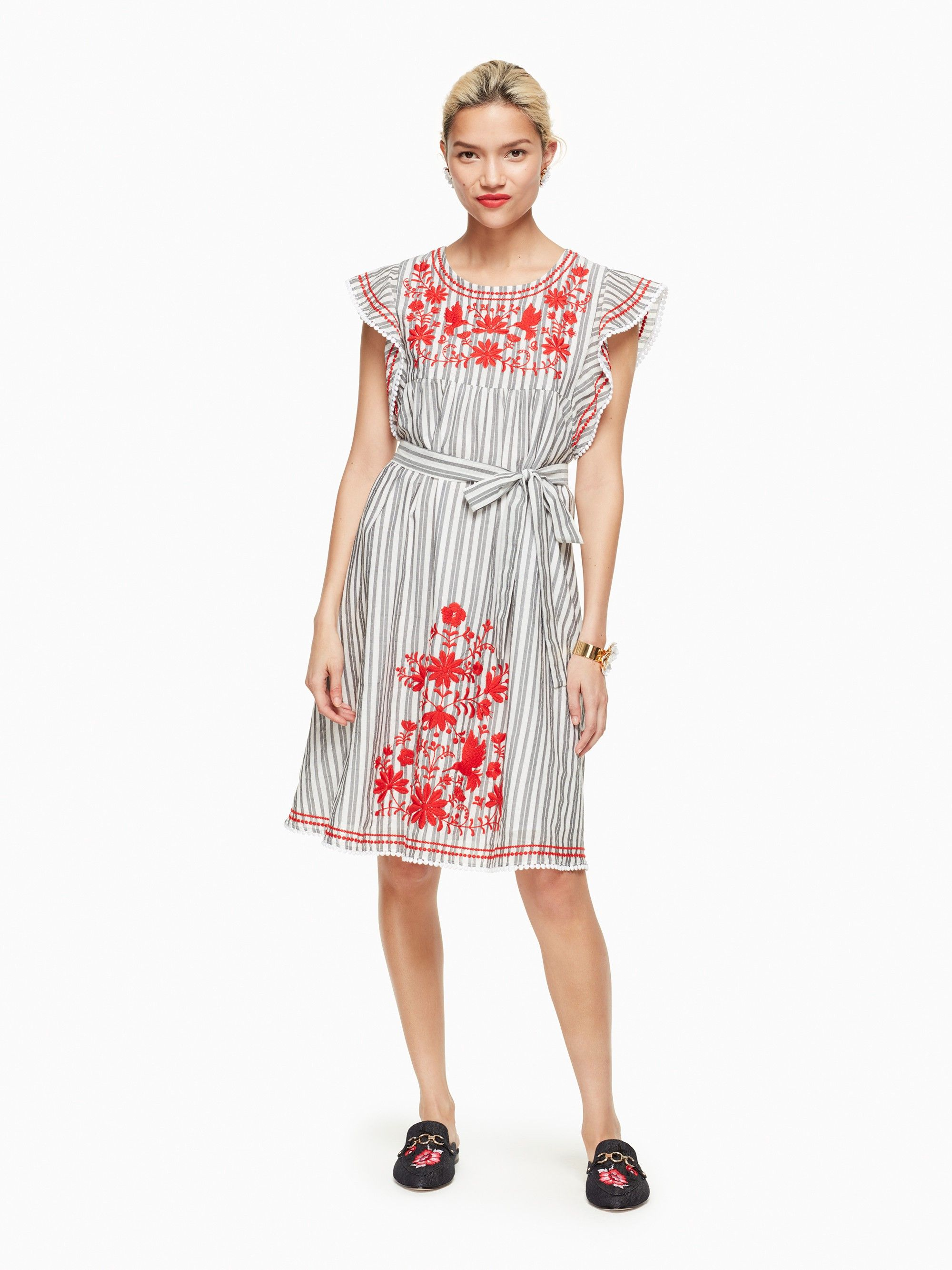 KATE SPADE stripe embroidered babydoll dress katespade cloth