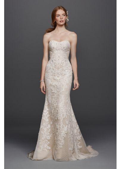 Oleg Cassini Strapless Lace Sheath Wedding Dress Cwg738 Sheath