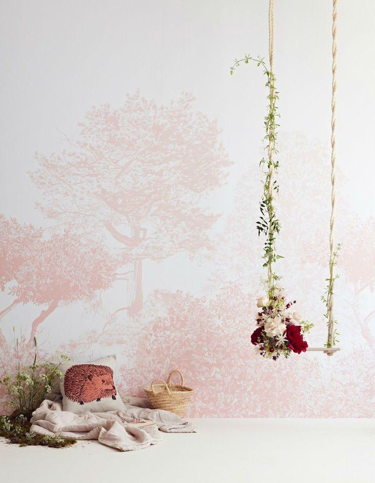 tienda online telas & papel   Mural papel arboles rosas