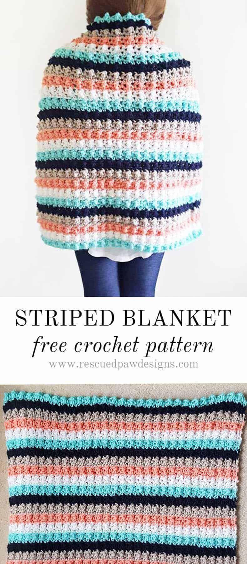 Easy Striped Crochet Baby Blanket Pattern | Babies | Pinterest ...