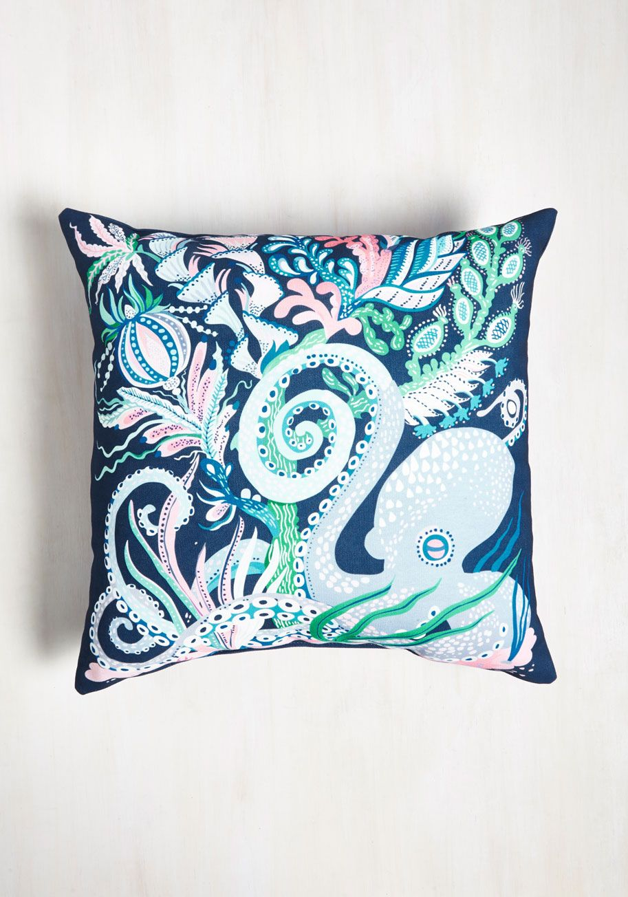 Reef Introduction Pillow. As your friends get acquainted with your new pad, theyre thrilled to sea this navy pillow! #blue #modcloth