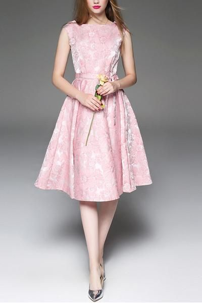 BelleGal charsu Pink Jacquard Design Real Silk Knee Lenght Dress