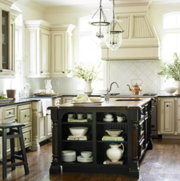 Kitchen project! Cream painted cabinets with stain glaze Dark wood