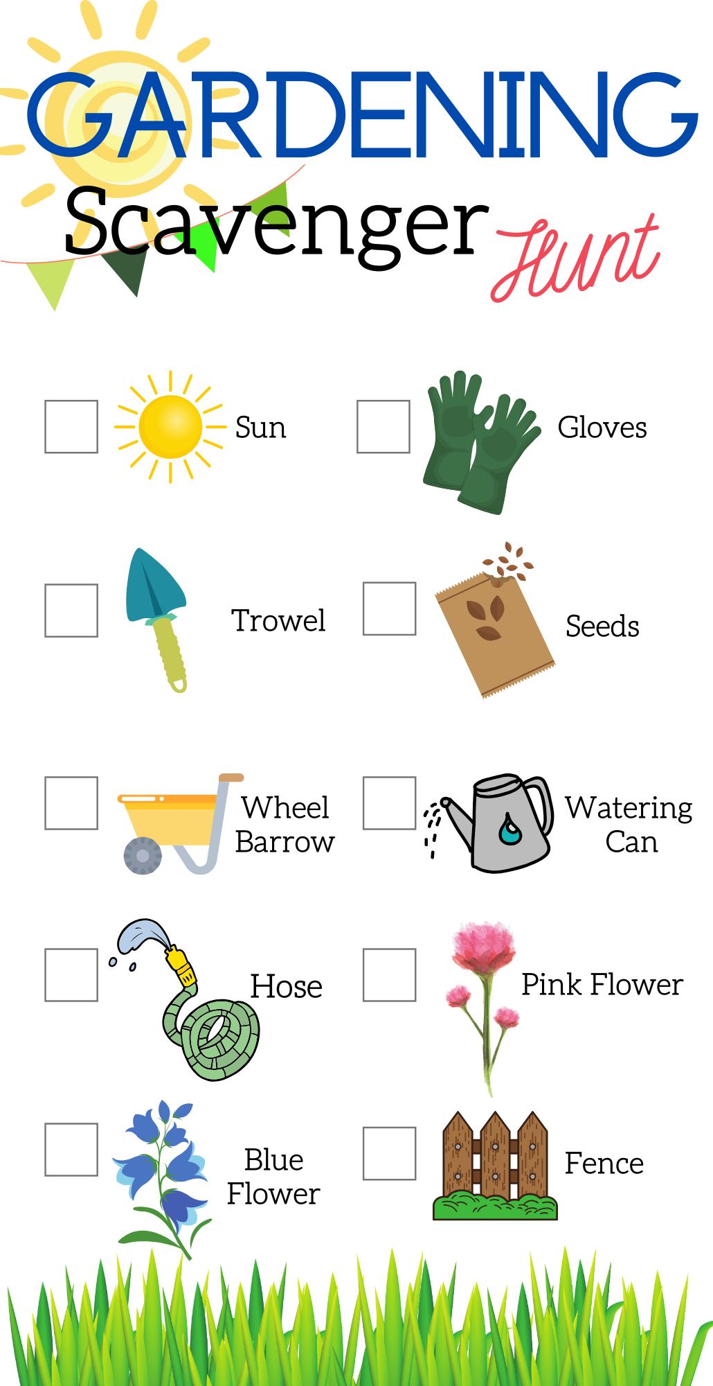 Kids Spring Scavenger Hunts Gardening Color Instant