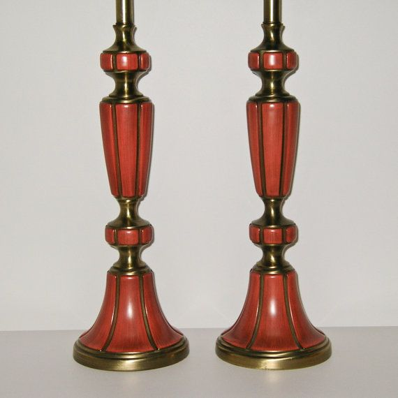 Pair Hollywood Regency Lamps By Rembrandt Masterpiece . Persimmon Enamel On  Brass . RESERVE FOR REBECCA