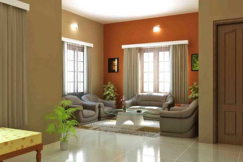 Interior paint color schemes with dual color, orange wall ...