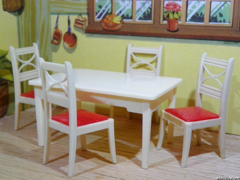 Renwal KITCHEN TABLE SET Vintage Tin Ideal Miniature Dollhouse Furniture 1:16 #Renwal