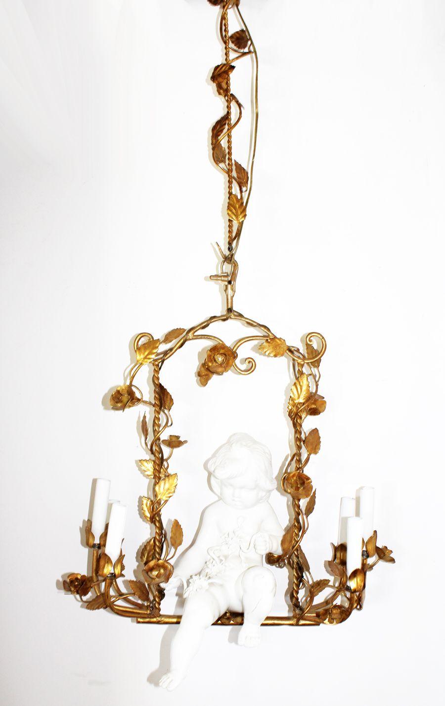 Rare italian gilt porcelain cherub chandelier furniture among rare italian gilt porcelain cherub chandelier arubaitofo Gallery