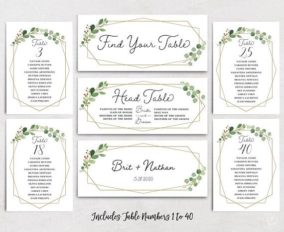 geometric wedding seating chart template header signs and table