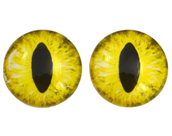 Yellow Cat Eyes Realistic Doll Eyes 11 15 Mm Taxidermy Animal Eyes Doll Eyes Yellow Cat Bottle Cap Art