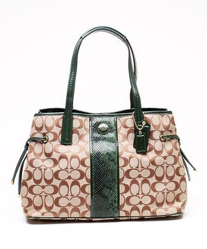60850f9c6ee5f6 Loving this Khaki   Green Signature Python Print Stripe Leather Tote on   zulily!  zulilyfinds