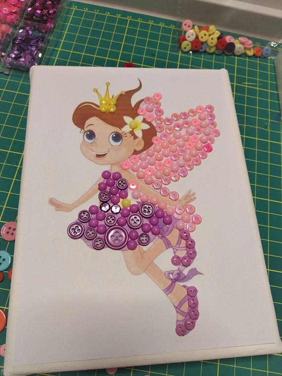 Diy button art kit fairy button canvas craft kit art puzzle do it diy button art kit fairy button canvas craft kit art puzzle do it yourself colorful picture solutioingenieria Image collections