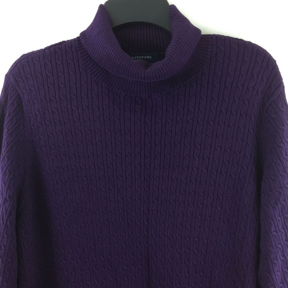 Lands End Women Plus Size 3X Purple Cable Knit Cotton Turtleneck...