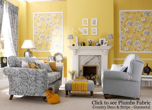 too much yellow, but I like the big framed fabric idea on the walls ...