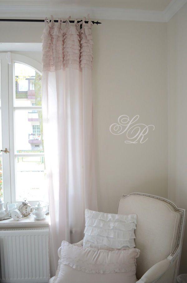 chic antique voile mit r schenvolant powder gardinenschal schlaufenschal shabby in m bel. Black Bedroom Furniture Sets. Home Design Ideas