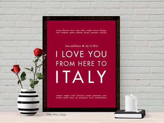 Italy Personalized Wedding Gift Art Print