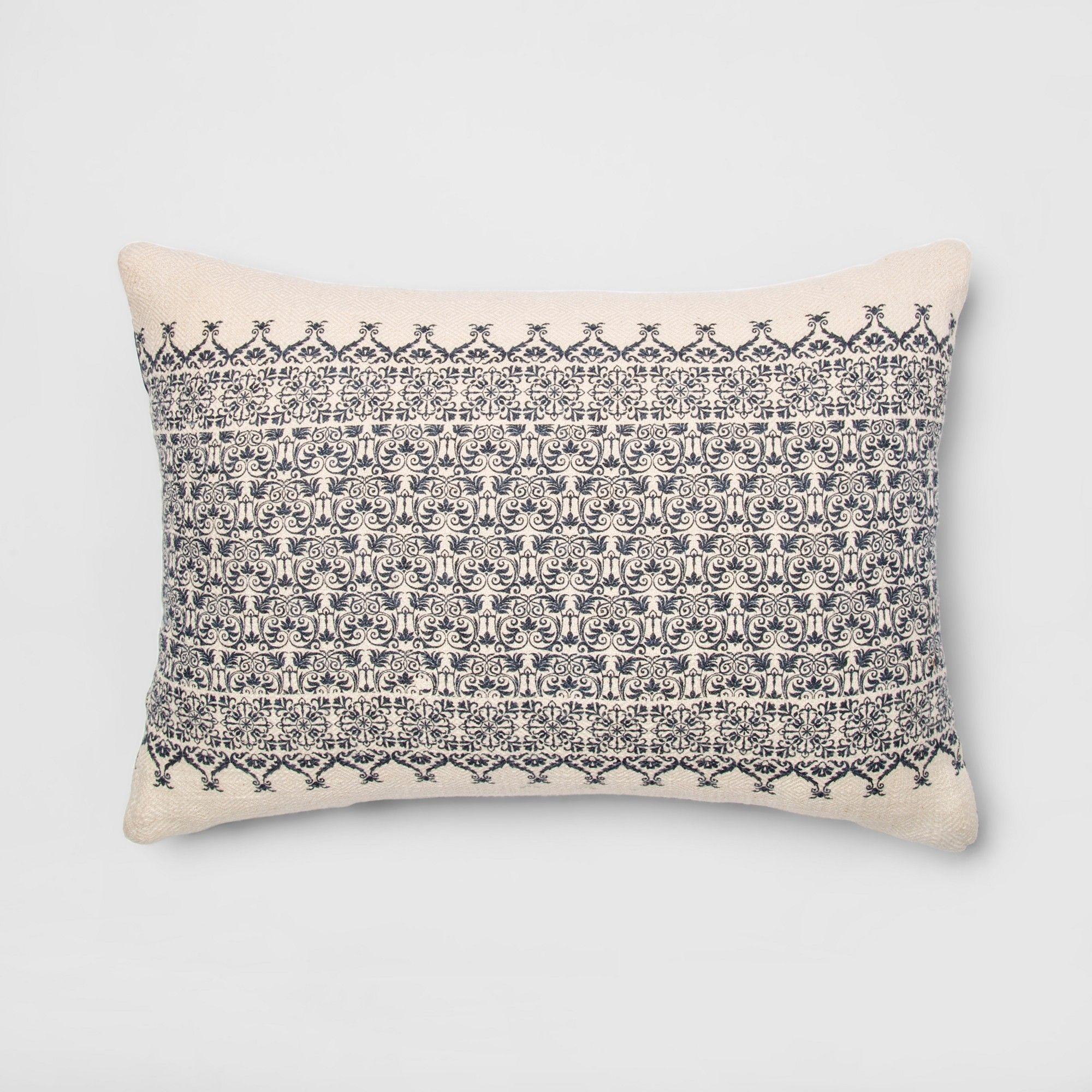 Lumbar Throw Pillow CreamBlue (Ivory