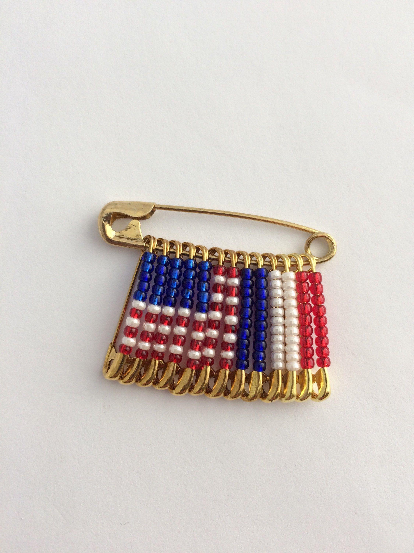 US France Beaded Flag PinHandmadeGift for HerGift for Him