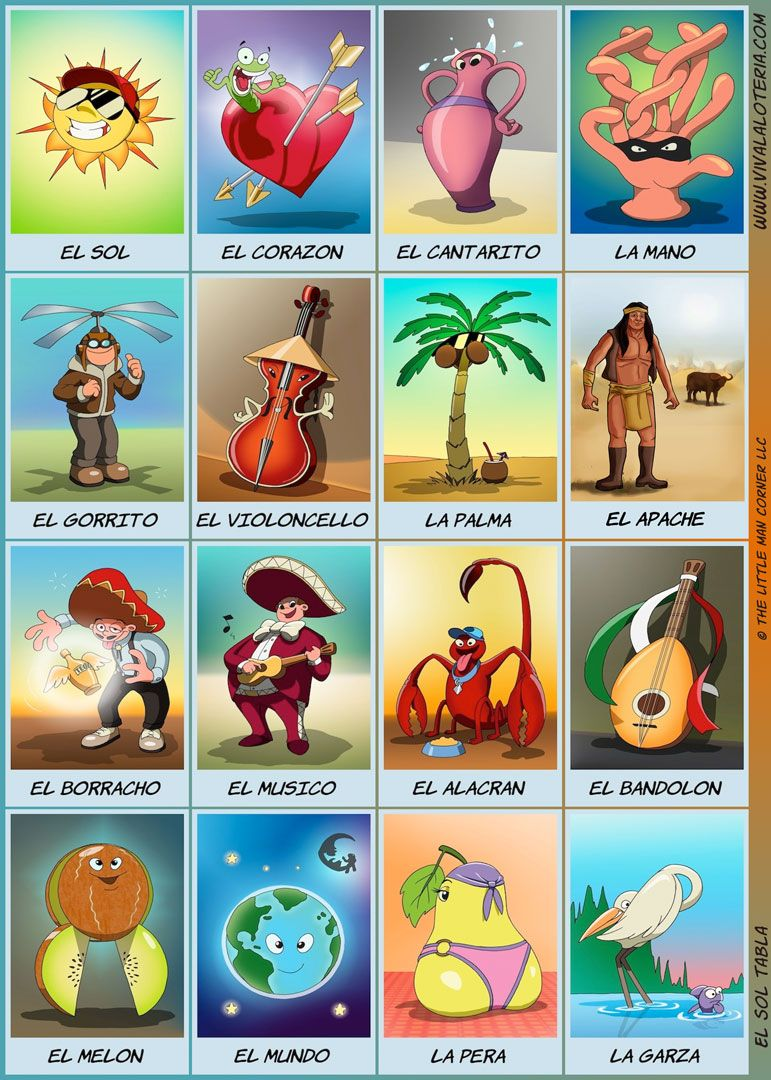 Cartoon Loteria courtesy of Viva La Loteria game app