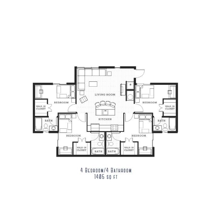 Floorplans The Reef Student Apartments For Fort Myers Florida At Florida Gulf Coast University Bedroom Fort Student Apartment Floor Plans