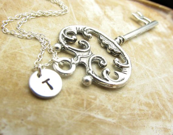 Vintage Key Charm Personalized Necklace by StampedCharmsJewelry, $17.00