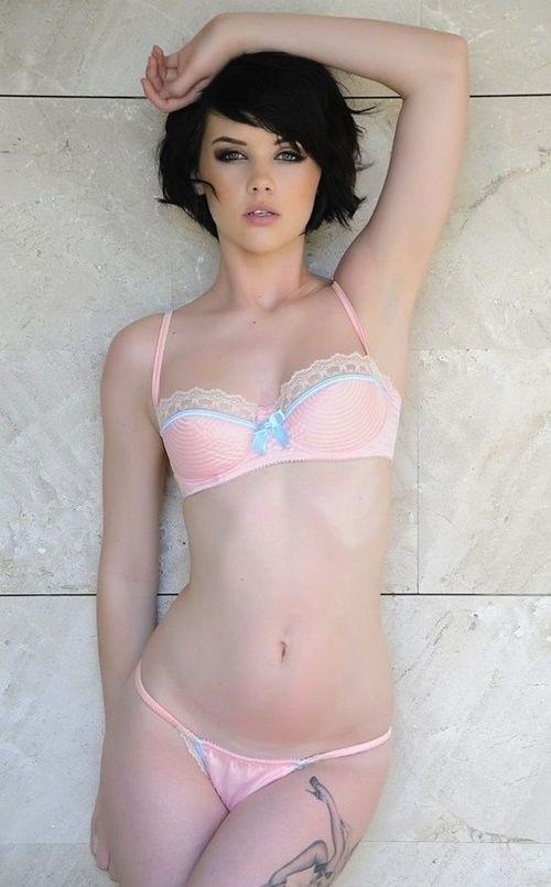 lingerie Short hair brunette