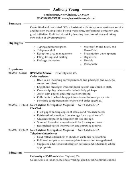 Office Assistant Resume Example Admin Sample Resumes - resume livecareer login