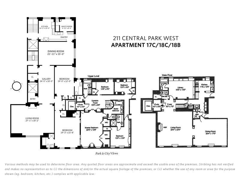8594709 211 Cpw 17 18c 18b Combo Floorplan Web Jpg 800 600 Floor Plans Central Park Apartment Floor Plans