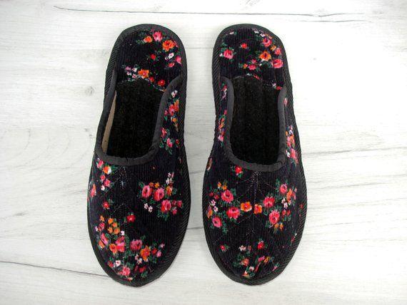97e3792d886 Black Velvet House Slippers for Women