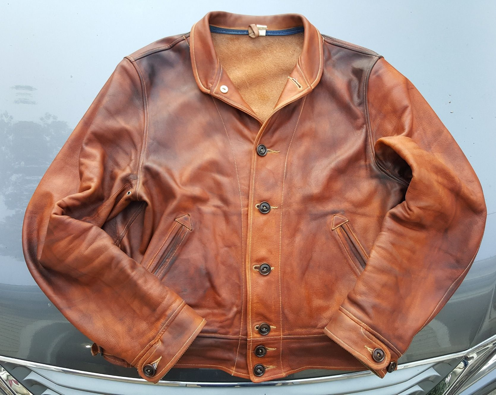 Mister Freedom Campus Leather Jacket Natural Full Grain Cowhide Well Aged Leather Jacket Jackets Leather