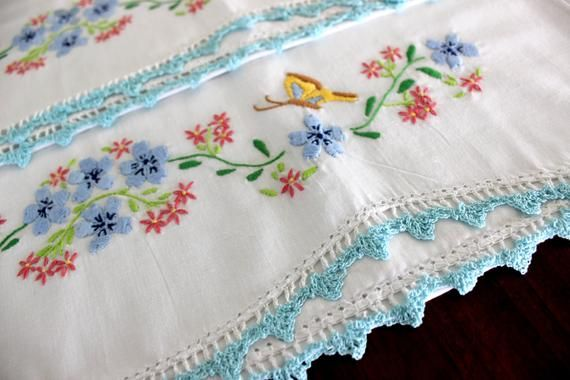 Embroidered Pillow Cases, Hand Embroidered, Pillowcases Matching Pair, Crocheted Edge 15578